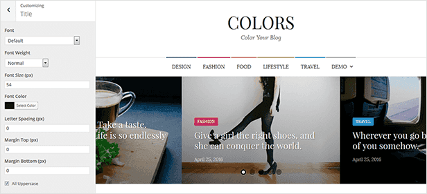 Colors - Simple Blog & Magazine WordPress Theme - 12  Download Colors – Simple Blog & Magazine WordPress Theme nulled colors customization title