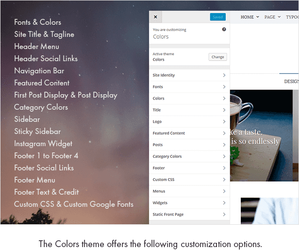 The Colors theme offers the following customization options.  Download Colors – Simple Blog & Magazine WordPress Theme nulled colors customization