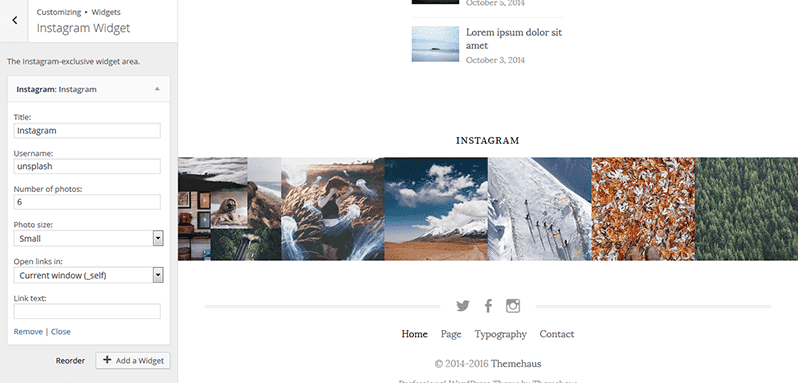 Life theme documentation themehaus after you install the wp instagram widget the instagram widget is added you can add to the instagram widget area which you should configure in the manner ccuart Choice Image